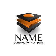 Architect design company logo black orange