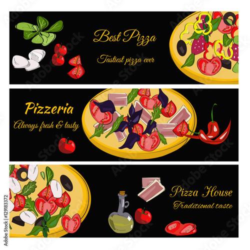 horizontal menu templates free download - pizzeria design template horizontal vector banners set