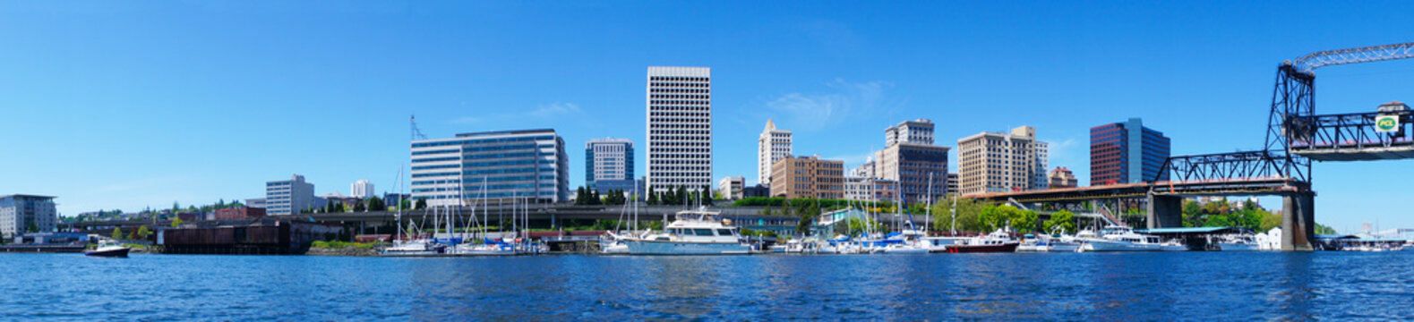 Tacoma downtown water view with business buildings.
