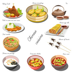 Chinese cousine set. Collection of food dishes