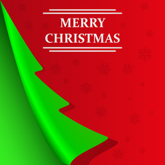 Merry Christmas abstract background with folded corner in the form of Christmas trees