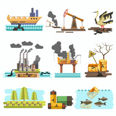 Icons of ecology vector flat design concept illustration set.