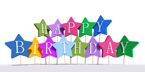 Happy birthday colorful stars