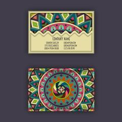 Vector vintage visiting card set. Floral mandala pattern and ornaments. Oriental design Layout. Islam, Arabic, Indian, ottoman motifs.