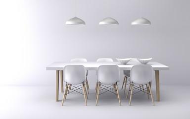 Minimalist modern white dining room, 3d rendering