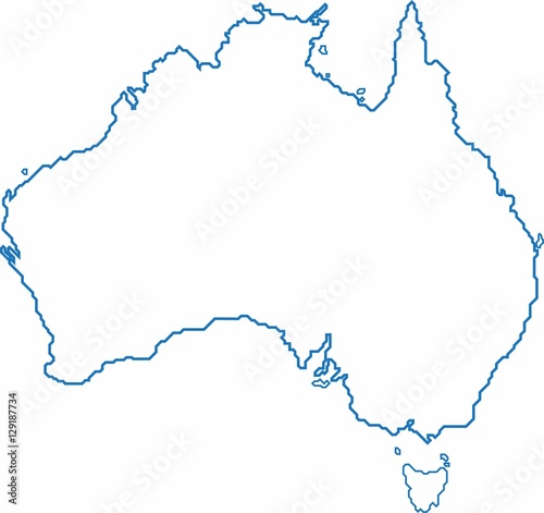 Australia Map Outline Vector.Blue Outline Australia Map On White Background Vector Illustration