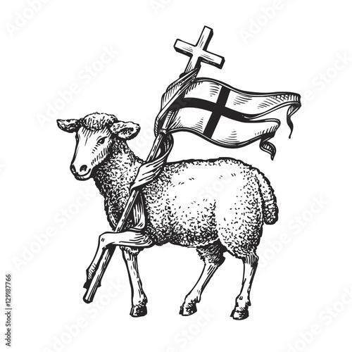 quotlamb with cross religion symbol sketch vector