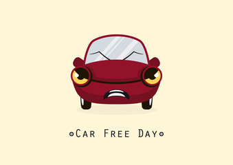Car Free Day. Cartoon character angry car. Illustration of a red car. Important day