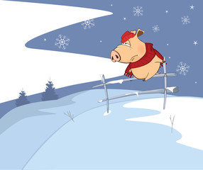 Illustration of a Little pig and a Christmas night