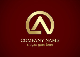 round letter a gold company logo
