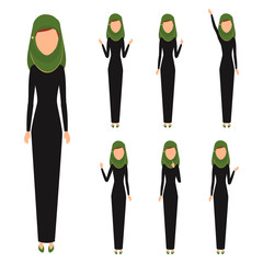 Arab business woman character. People ratio character vector flat design.