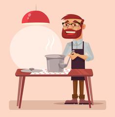 Man character cook soup. Vector flat cartoon illustration