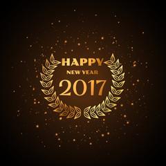 happy new year golden text with laurel wreath