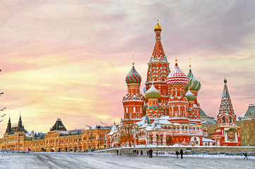 Moscow,Russia,Red square,view of St. Basil's Cathedral in winter