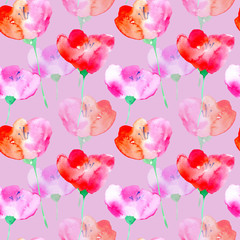 Floral seamless pattern with poppy flowers.Watercolor hand drawn illustration.Purple background.