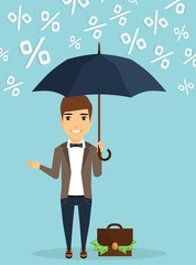 Young businessman concept of protecting capital from the rain of percent. Young businessman with an umbrella in his hand. Happy guy.