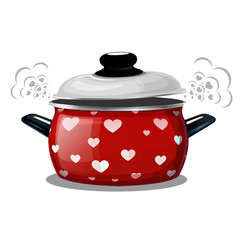 Vector illustration of a red pot, steam comes out of it in the form of hearts. Card for the holiday Valentine's Day.