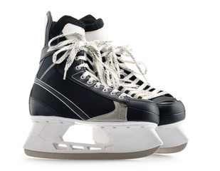 Pair of ice hockey skates isolated on white