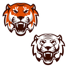 Set of the tiger heads. Sport team mascot. Design element for lo