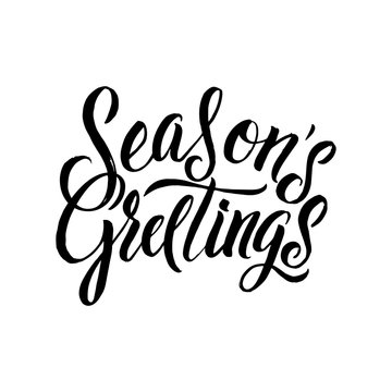Seasons Greetings Calligraphy. Greeting Card Black Typography on White Background