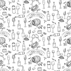 Seamless background hand drawn wine set icons Vector illustration Sketchy wine tasting element collection Wine objects Cartoon wine symbols Vineyard background Vector wine background Winery Wine glass