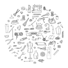 Hand drawn doodle Handmade icons set. Vector illustration. Sewing collection. Cartoon hand made various sketch elements: embroidery, jewelry making, button, needle, scissors, spool, pin, knitting