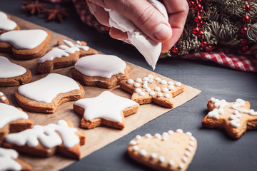 Christmas gingerbread icing decorating process