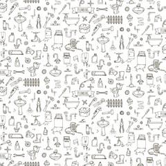 Seamless pattern Hand drawn doodle Plumbing icons set. Vector illustration. Plumber repair tools collection. Cartoon pipe sketch elements: sink, tube, drain, broken washing machine, splash, drops Leak