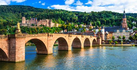 medieval Heidelberg  - view of famous Karl Theodor bridge and castle