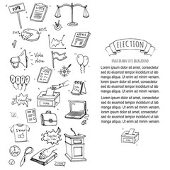 Hand drawn doodle Vote icons set. Vector illustration. Election symbols collection. Cartoon various voting elements: hand putting paper in the ballot box, speaker, scale, calendar, infographics, case.
