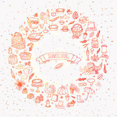 Hand drawn doodle Thanksgiving icons set. Vector illustration autumn symbols collection. Cartoon celebration elements: turkey, hat, cranberry, vegetables, pumpkin pie, leaves, cornucopia, basket.