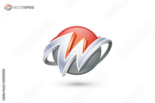 """Abstract Letter W Logo - 3D Sphere Logo"""" Stock image and royalty ..."""