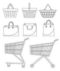 Shopping bag, basket, trolley, cart. Icon set, doodle, line, sketch style. Purchase supermarket Isolated on white background Vector illustration
