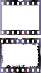 Wall Mural - frames of film, grungy photo frames, one clean, one grungy