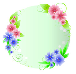 Beautiful round frame from flowers and stars