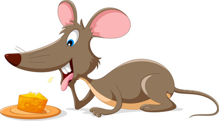 Cute mouse cartoon with a slice of cheese