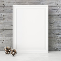 Vertical interior mock up with snowy pine cones on empty wooden wall background. 3D rendering.