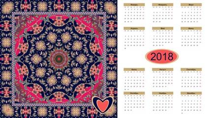 Beautiful calendar for 2018 year on ethnic ornamental background. Mandala pattern. Week starts on monday . Russian language.