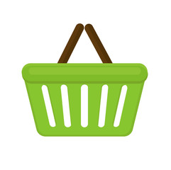 Shopping basket icon flat style. Plastic shopping basket in a supermarket isolated on white background. Shopping bag. Vector illustration