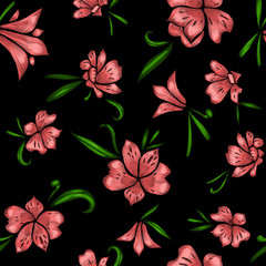 Floral seamless pattern. The effect of embroidery