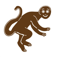 Vector illustration of Christmas gingerbread monkey