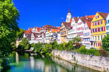 Fototapete - Beautiful floral colorful town Tubingen in Germany