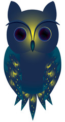 Cute owl with blue feather illustration
