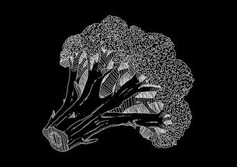 Black picture of broccoli