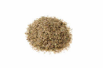dry chopped herbs of thyme on a white background