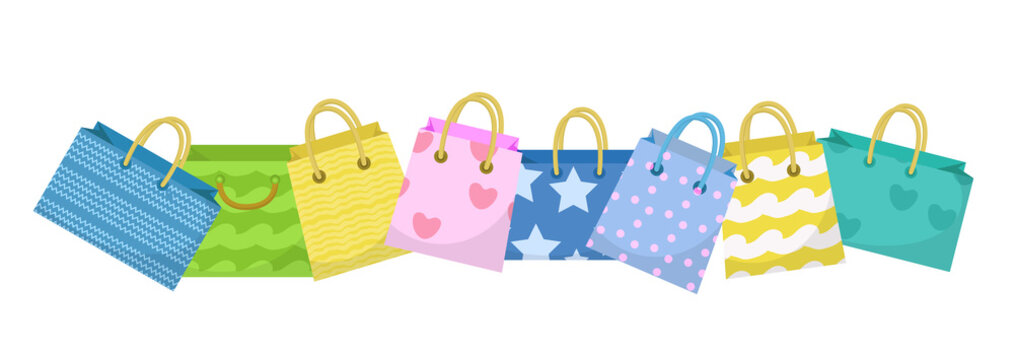 Cute shopping bag banner. Colorful shopping bags with different design board. Paper bags with space for text. Gift package. Vector Illustration