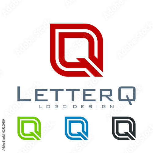 Letter Q Logo Design Double Line Stock Image And Royalty