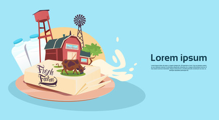 Milk Dairy Products Eco Fresh Farm Banner Flat Vector Illustration