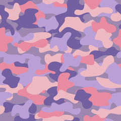 Camouflage seamless pattern in a purple, lilac and beige colors.