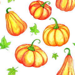 seamless pattern with watercolor orange pumpkins